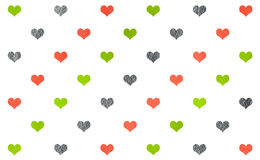 Watercolor hearts on white background pattern. Royalty Free Stock Photography