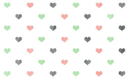 Watercolor hearts on white background pattern. Royalty Free Stock Image