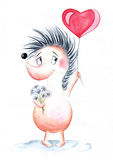 Watercolor. Hedgehog with balloon heart in hands. Stock Photos