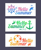 Watercolor Hello Summer cards. Stock Image