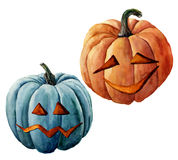 Watercolor helloween pumpkin. Hand painted carved faces pumpkins isolated on white background. Holiday illustration for. Design, print or background Stock Images