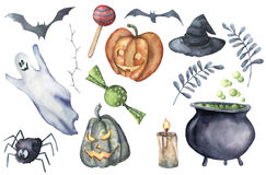 Watercolor helloween set. Hand painted bottle of poison, cauldron with potion, broom, candle, candies, pumpkin, witch. Hat and floral branch isolated on white Stock Photos