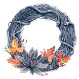 Watercolor helloween wreath. It`s perfect for cards, helloween party invitations, poster Stock Image