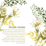 Watercolor herbs and flowers, vector background Royalty Free Stock Photo