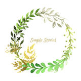 Watercolor herbs and flowers wreath, vector Royalty Free Stock Photos