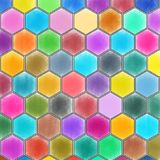 Honeycomb pattern with watercolor background. vector illustration