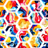 Watercolor hexagon seamless pattern Royalty Free Stock Image