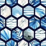 Watercolor hexagon seamless pattern. Royalty Free Stock Photo