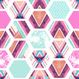 Watercolor hexagon seamless pattern with geometric ornamental elements Stock Photo