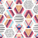 Watercolor hexagon seamless pattern with geometric ornamental elements Stock Image