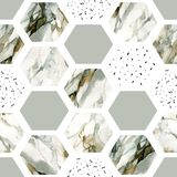 Watercolor hexagon with stripes, water color marble, grained, grunge, paper textures. Abstract geometric seamless pattern on white background. Watercolor royalty free illustration