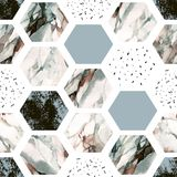 Watercolor hexagon with stripes, water color marble, grained, grunge, paper textures. Abstract geometric seamless pattern on white background. Watercolor stock illustration