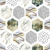 Watercolor hexagon with stripes, wave, curve, water color marble, grained, grunge, paper textures, minimal elements. Abstract geometric seamless pattern on royalty free illustration