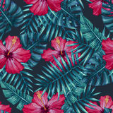 Watercolor hibiscus flower and palm leaves seamless pattern. Stock Image