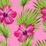 Watercolor hibiscus flower and palm leaves seamless pattern. Stock Photography
