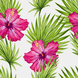 Watercolor hibiscus flower and palm leaves seamless pattern Royalty Free Stock Photo