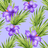 Watercolor hibiscus flower and palm leaves seamless pattern Stock Photo