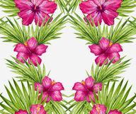 Watercolor hibiscus flower and palm leaves seamless pattern Royalty Free Stock Images