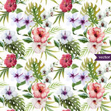 Watercolor, hibiscus, orchid, white, palm, tropical, pattern, background, wallpaper Royalty Free Stock Photos