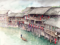 Watercolor High Definition Illustration: Chinese Water Town. Stilt Loft. Chongqing. Fantastic Cartoon Style Scene Wallpaper Background Design with Story Stock Photo