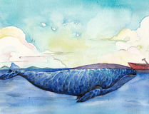 Watercolor High Definition Illustration: The Great Whale. Fantastic Cartoon Style Scene Wallpaper Background Design with Story Stock Images