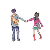 Watercolor High Definition Illustration: Hand Holding Couple. Stock Photos