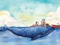 Watercolor High Definition Illustration: The Happy Family's Vacation. Royalty Free Stock Photography