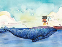 Watercolor High Definition Illustration: The Little Savage's Life. Stock Images