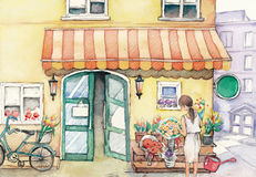 Watercolor High Definition Illustration: Street Flower Shop with Salesgirl. Stock Photography