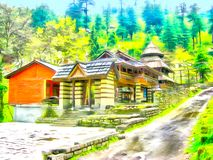watercolor Himalaja-Kullu-Tal Manali Indien vektor abbildung