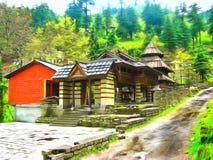 watercolor Himalaja-Kullu-Tal Manali Indien stock abbildung