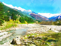 Watercolor. Himalayan Kullu Valley.  India. Travel, tourism. Royalty Free Stock Images