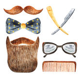 Watercolor hipster man objects collection Royalty Free Stock Photo