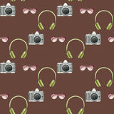 Watercolor hipster seamless pattern with photo camera,sunglasses,headphones on brown background. Hand drawn fashion illustration Stock Photo
