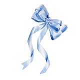 Watercolor holiday blue ribbon bow greeting illustration. Festive decoration bunting clip art. Birthday party design elements set. Isolated on white background Royalty Free Stock Images