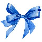 Watercolor holiday blue ribbon bow greeting illustration. Festive decoration bunting clip art. Birthday party design elements set. Isolated on white background Royalty Free Stock Image