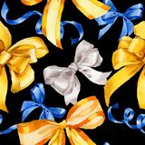 Watercolor holiday coloful ribbon pattern bow greeting illustration. Stock Images