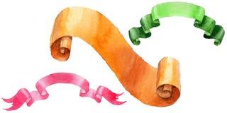 Watercolor holiday colorful ribbons bow greeting illustration. Stock Photo
