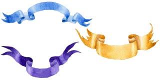 Watercolor holiday colorful ribbons bow greeting illustration. Stock Image