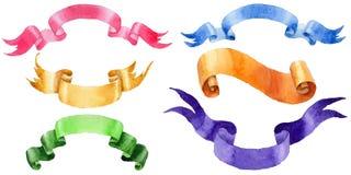Watercolor holiday colorful ribbons bow greeting illustration. Royalty Free Stock Photography