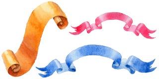 Watercolor holiday colorful ribbons bow greeting illustration. Stock Photography