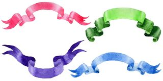 Watercolor holiday colorful ribbons bow greeting illustration. Royalty Free Stock Images