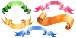 Watercolor holiday colorful ribbons bow greeting illustration. Royalty Free Stock Photos