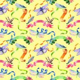 Watercolor holiday colorful ribbons pattern bow greeting. Stock Photography