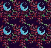 Watercolor Holiday illustrations seamless pattern with Moon and berries . Winter New Year theme. stock illustration