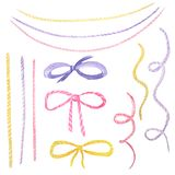 Watercolor holiday multicolored ribbon bow illustration, festive bunting clip art, birthday party design elements set, isolated on