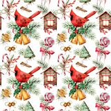 Watercolor holiday pattern with cardinal and Christmas symbols. Hand painted red bird, bells, house, candy cane, pin stock illustration