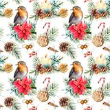 Watercolor holiday pattern with robin and Christmas symbols. Hand painted bird, bell, poinsettia, candy cane, candl vector illustration