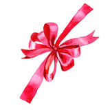 Watercolor holiday red ribbon bow greeting illustration. Festive decoration bunting clip art. Birthday party design elements set. Isolated on white background Royalty Free Stock Photo