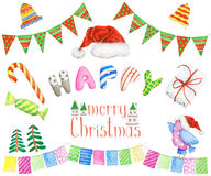 Watercolor holiday set with bright Christmas elements Stock Image